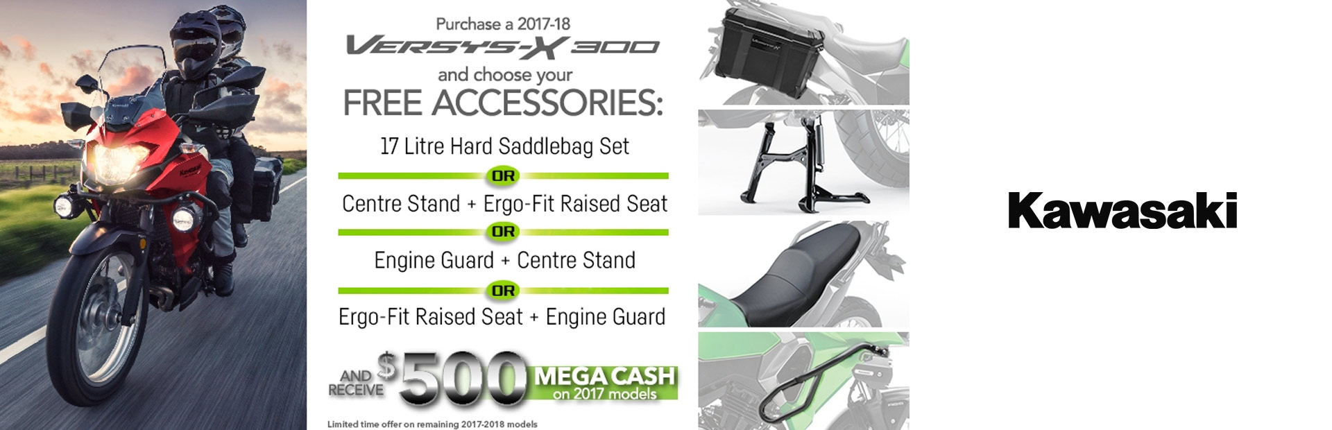 Kawasaki: Versys-X 300 Accessory AND 500 Megacash Promotion