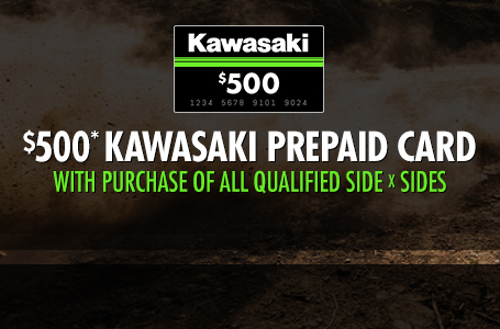 $500* Kawasaki Prepaid Card with Purchase of SXS