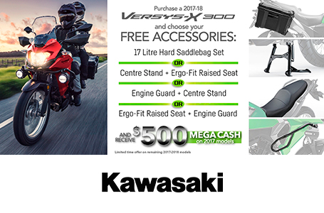 Versys-X 300 Accessory AND 500 Megacash Promotion