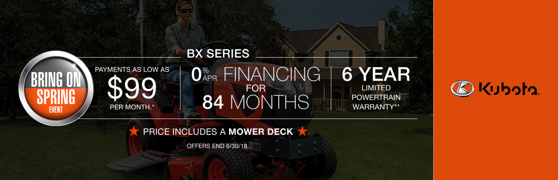 Kubota: New Purchase Special Offer - BX Series