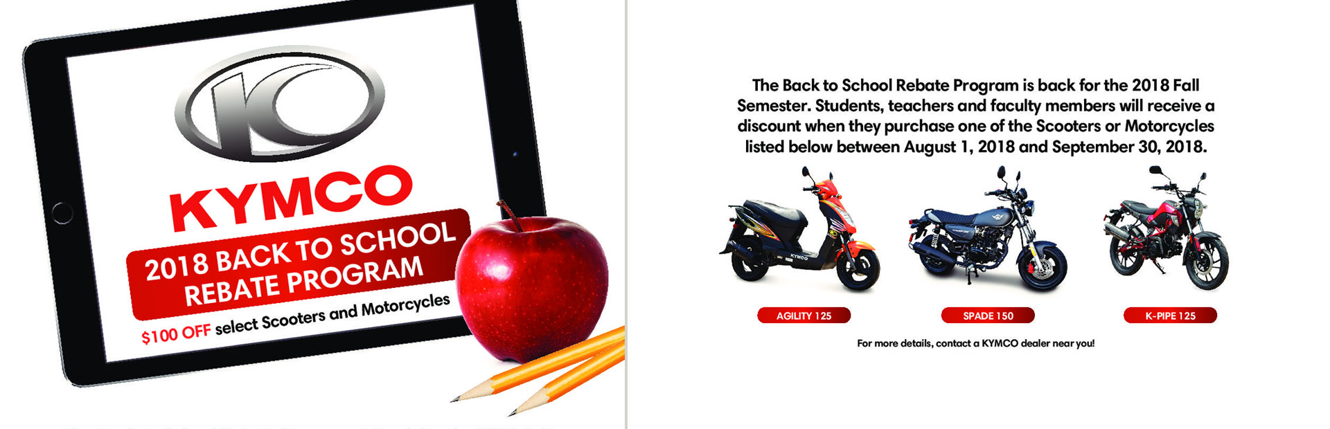 KYMCO: Back To School Rebate Program