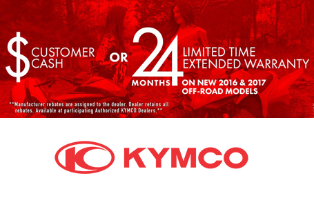 Kymco Customer Cash or Extended Warranty Off Road