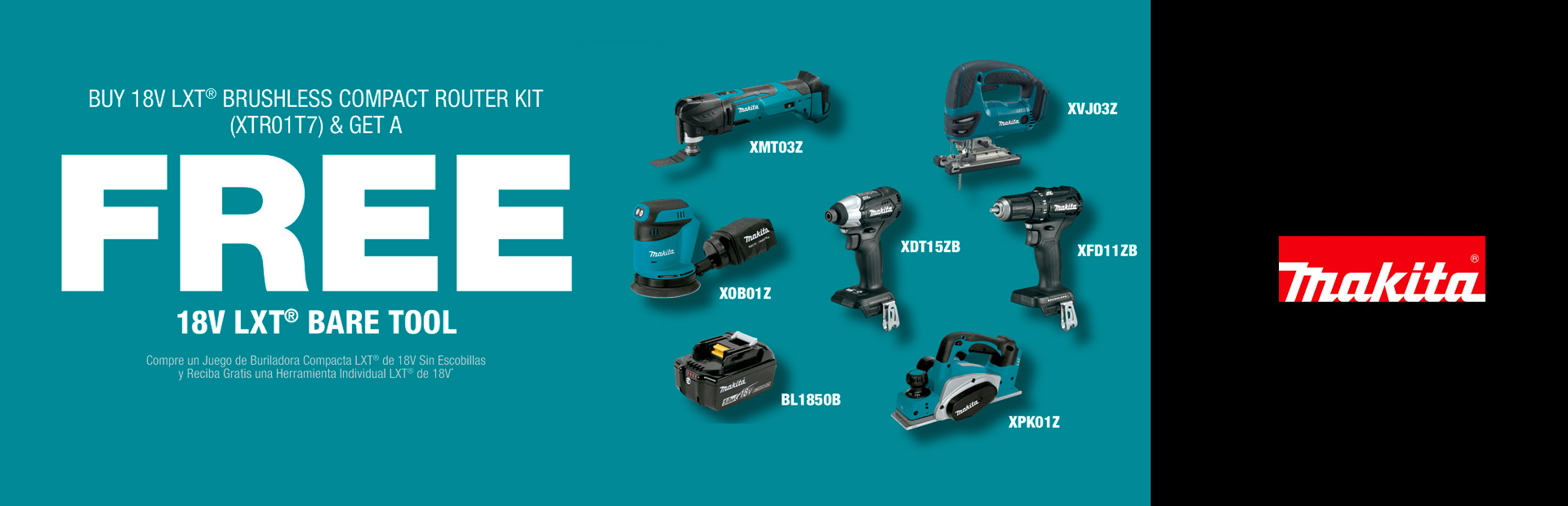 Makita: BUY 18V LXT® BRUSHLESS COMPACT ROUTER KIT XTR01T7