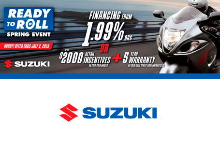 SUZUKI ROLL INTO SPRING SALES EVENT - MOTORCYCLE