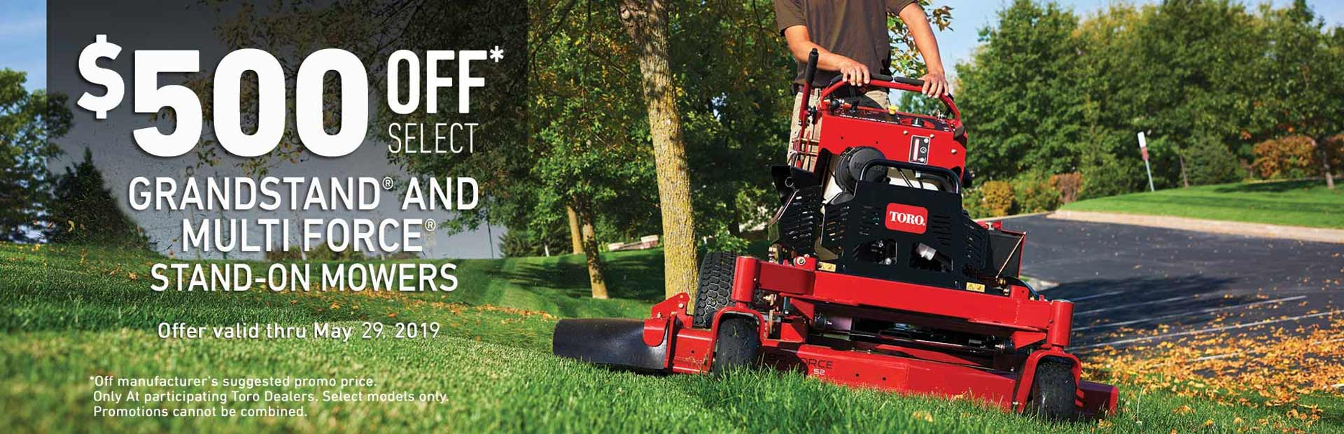 Toro: $500 Off Select GrandStand Multi-Force Mowers