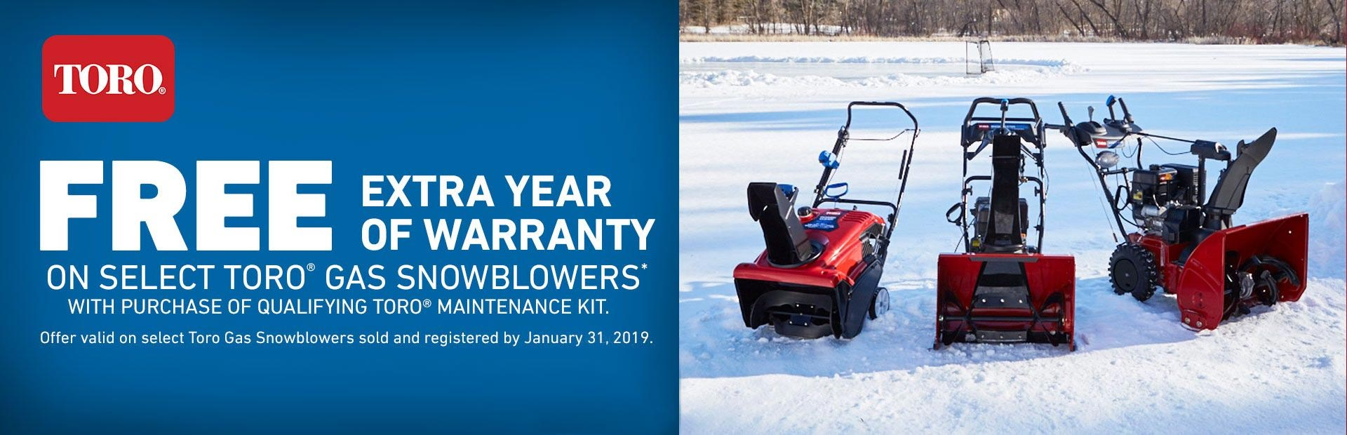 Toro: 1-Year Toro Engine Warranty Extension -Snowblowers