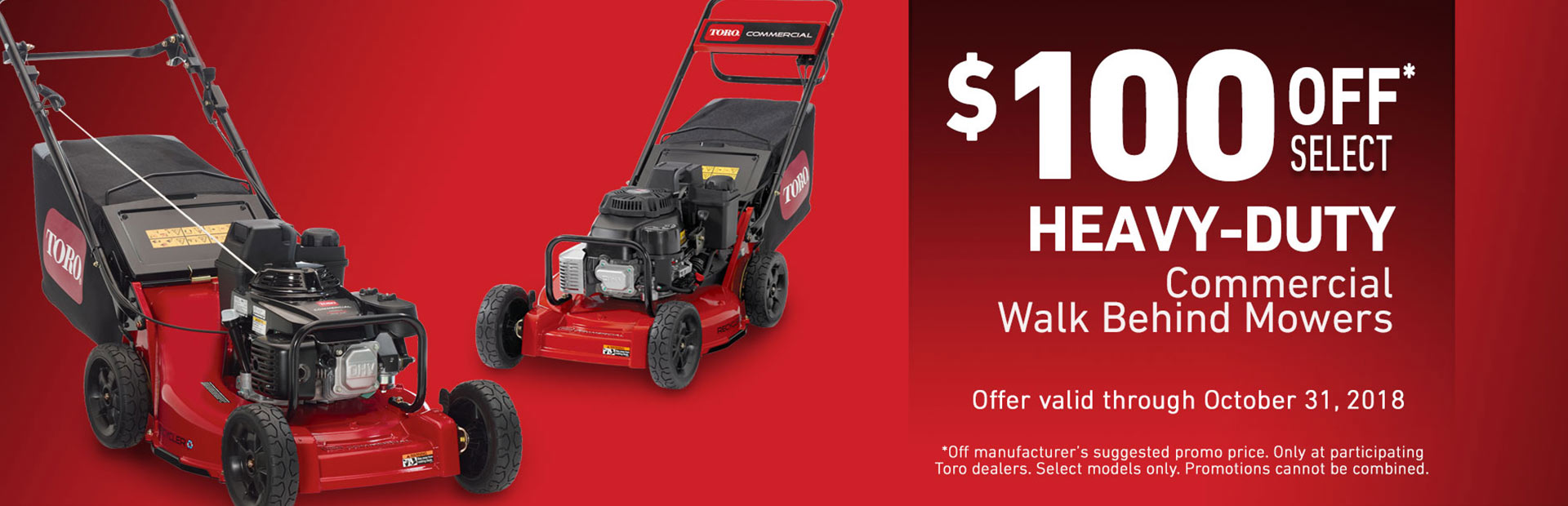 Toro: $100 USD Off Heavy Duty Mowers