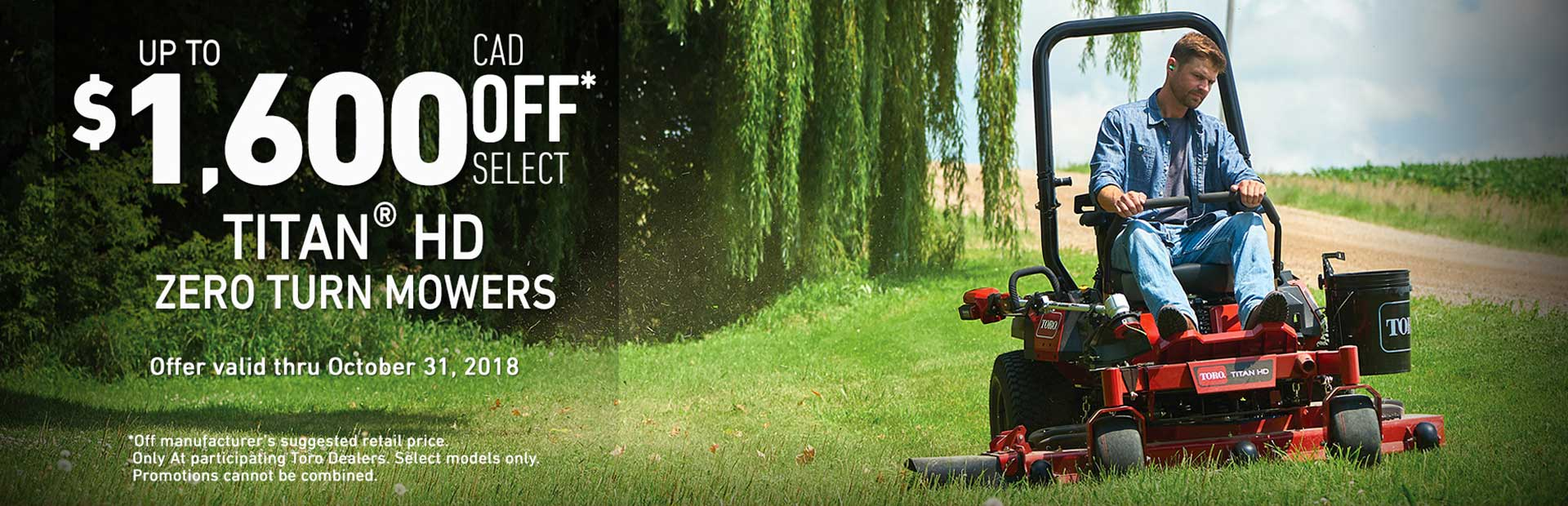 Toro: Up To $1600 CAD OFF Select TITAN® HD Mowers