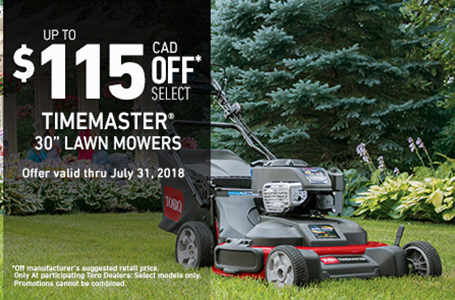 $115 CAD OFF Select Off Select TimeMaster Mowers