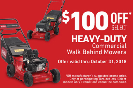 $100 USD Off Heavy Duty Mowers