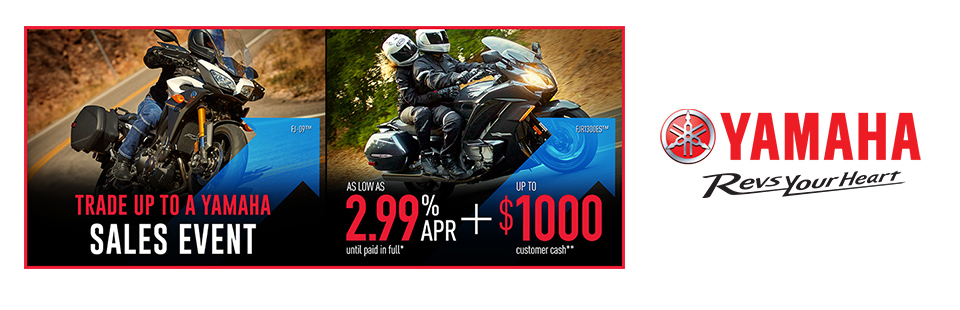 Yamaha: As Low As 2.99% APR Until Paid In Full (Touring)