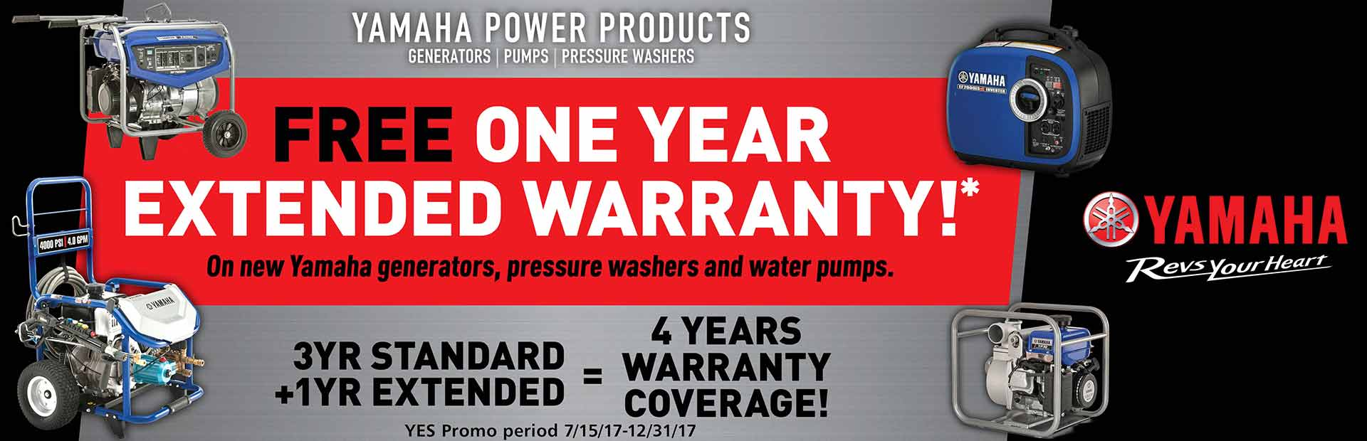 Yamaha: Free One-Year Extended Warranty