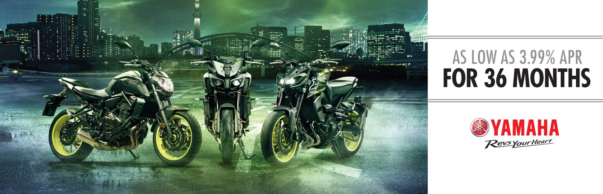 Yamaha: As Low As 3.99% APR For 36 Months (Street Bikes)