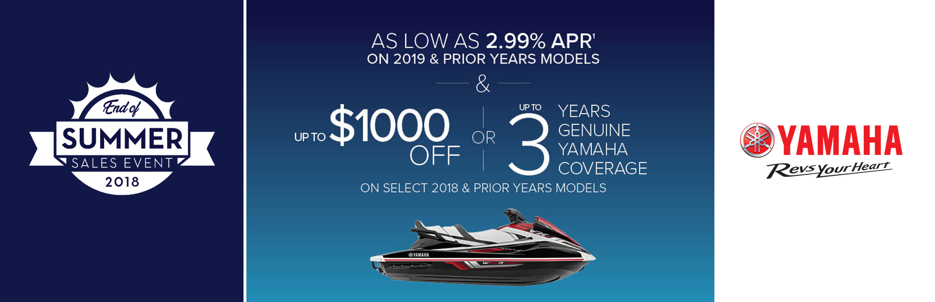 Yamaha: As Low As 2.99 % APR On 2019 & Prior Years Models