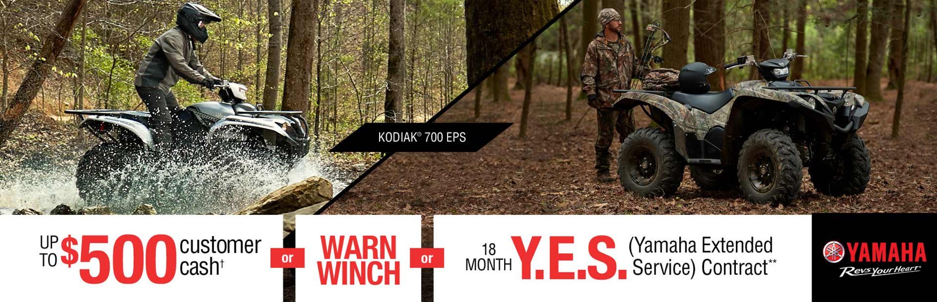 Yamaha: Customer Cash, Free Warn® Winch, 18 Month Y.E.S.