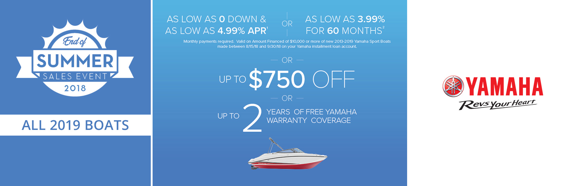 Yamaha: End of Summer Sales Event - 2019 Boats