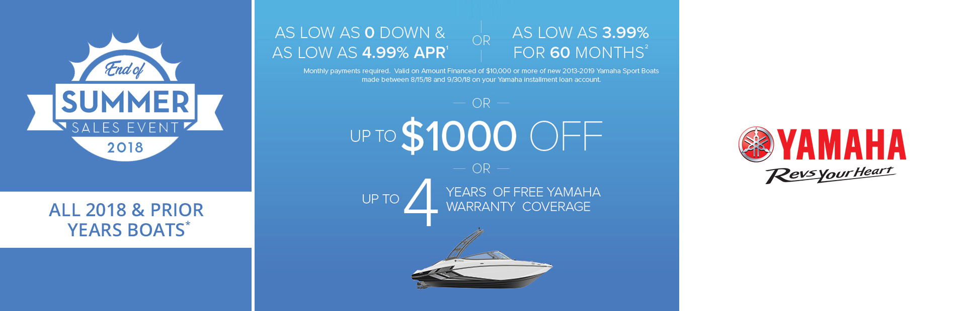 Yamaha: End of Summer Sales Event - 2018 & Prior Boats