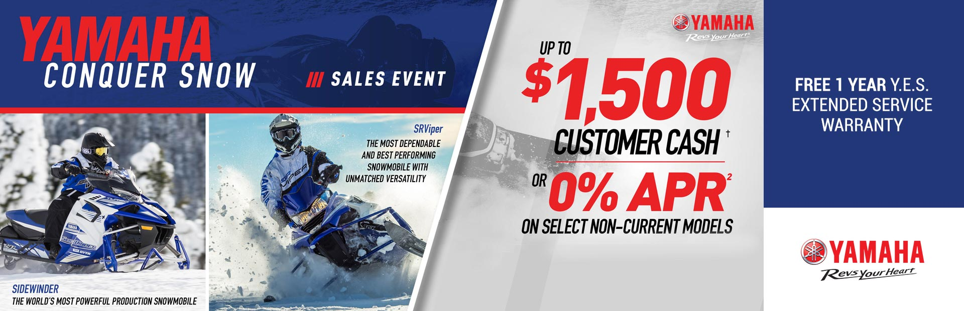 Yamaha: Free 1 Year Y.E.S. Extended Service Warranty