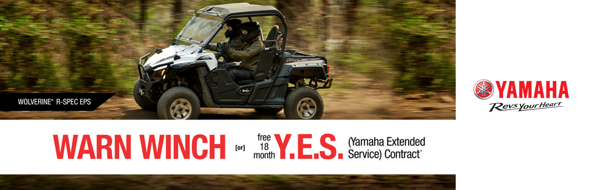 Yamaha: Free Warn Vantage Winch -or- 18 Month Y.E.S. (SxS)