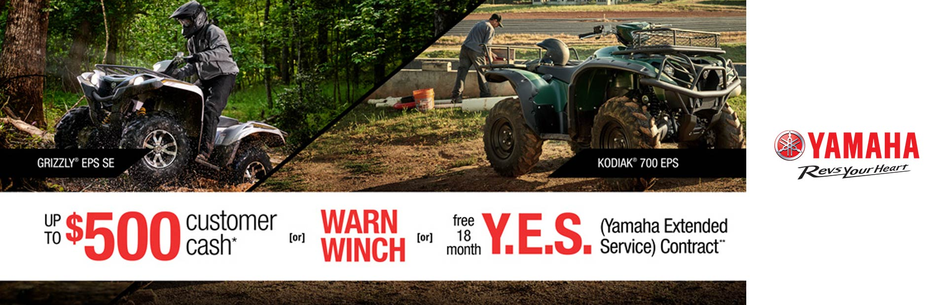 Yamaha: Free Warn Vantage Winch -or- 18 Month Y.E.S. (ATV)