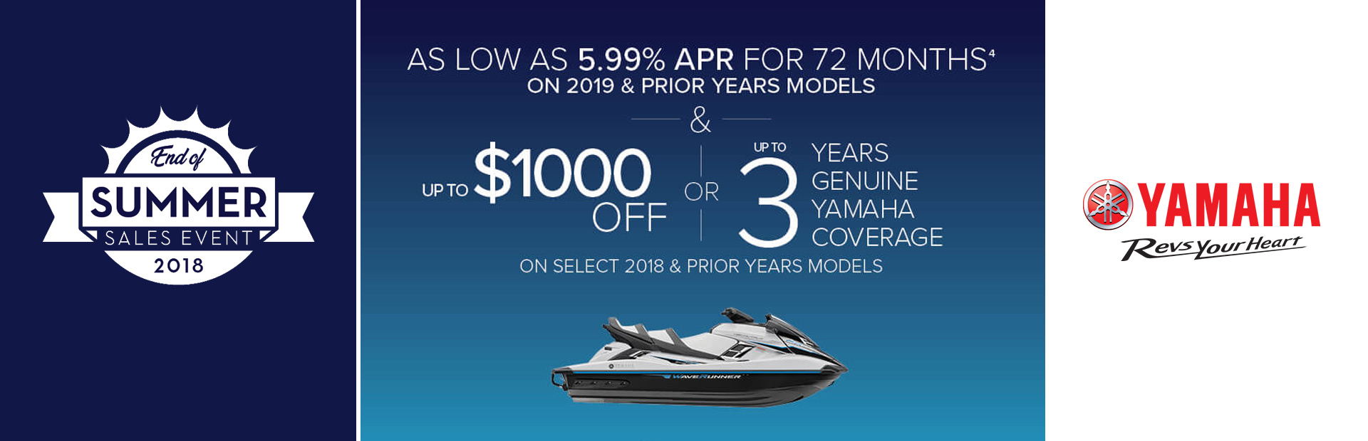 Yamaha: As Low As 5.99% APR For 72 Months On 2019 & Prior