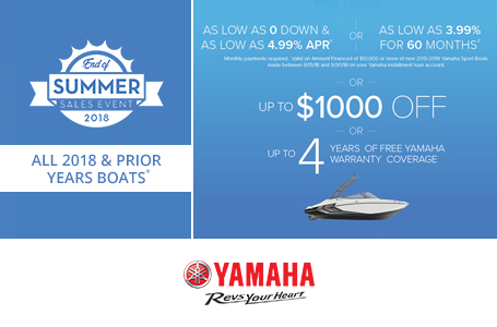 End of Summer Sales Event - 2018 & Prior Boats