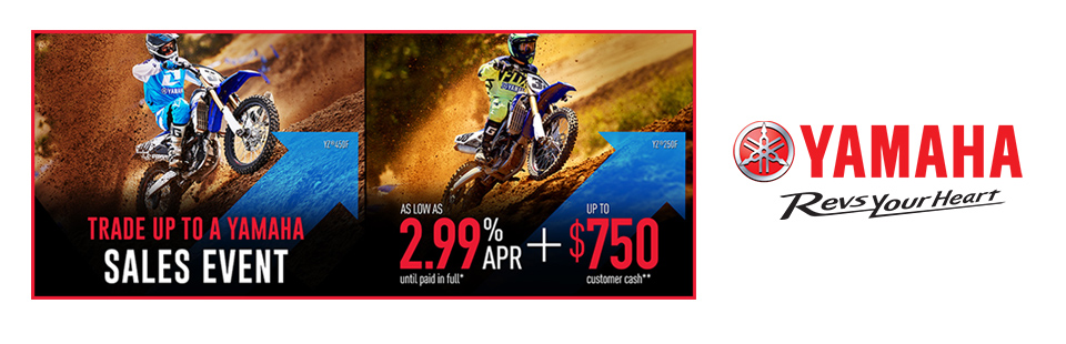 Yamaha: As Low As 2.99% APR Until Paid In Full (Dirt)