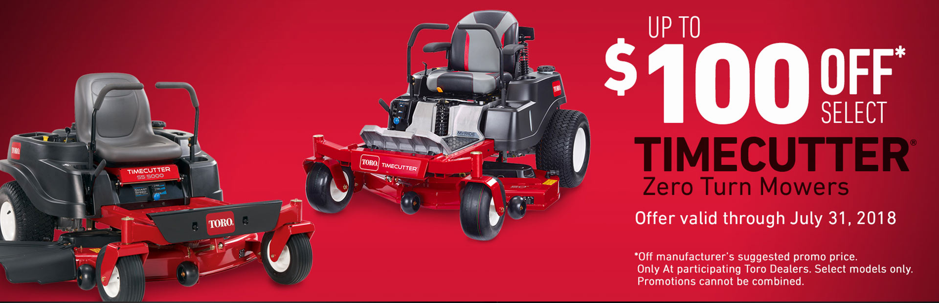 "$100 Off 2018 50"" TimeCutter & all 2018 MX Mowers"