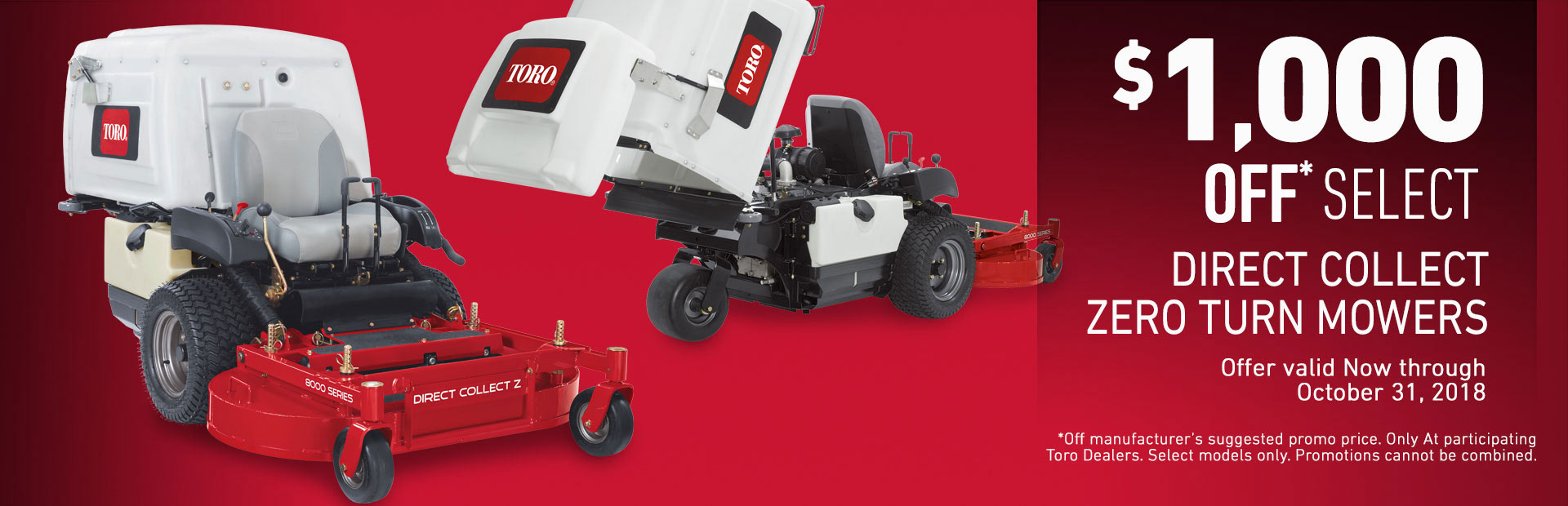 $1000 USD Off 8000 Series Direct Collect Mowers