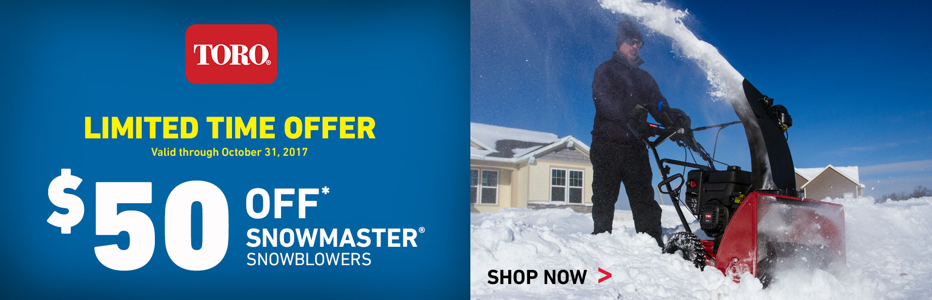 $50 Off Snowmaster Snowblowers