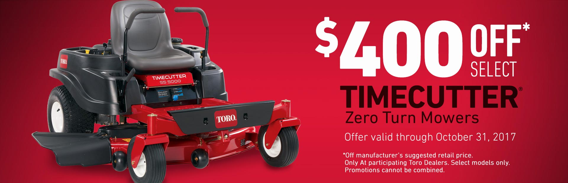 $400 OFF Z Select TimeCutter SS5000 Mowers
