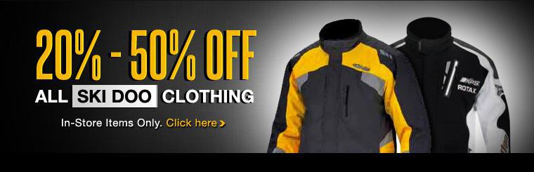 Get 20% - 50% off all in-store Ski Doo clothing! Click here to contact us for more information.