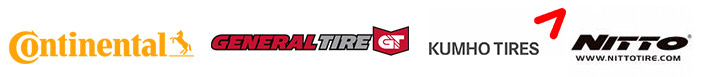 We are proud to carry products by Continental, General, Nitto, and Kumho.