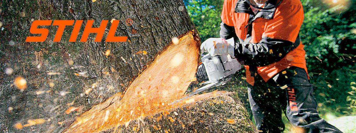 STIHL Chainsaw cutting through tree in Columbia, SC