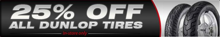 25% off all Dunlop Tires.