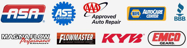 We are affiliated with the ASA. Our technicians are ASE certified. We are an AAA Approved Auto Repair facility. BBB. We are a NAPA AutoCare Center. We carry products from Dexos, Magnaflow, Flowmaster, KYB, and Emco Gears.