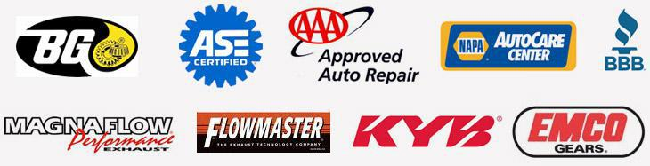 BG Services. Our technicians are ASE certified. We are an AAA Approved Auto Repair facility. BBB. We are a NAPA AutoCare Center. We carry products from Dexos, Magnaflow, Flowmaster, KYB, and Emco Gears.