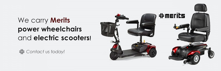 We carry Merits power wheelchairs and electric scooters! Contact us today for details.