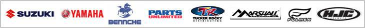 We proudly offer products from Suzuki, Yamaha, Bennche, Parts Unlimited, Tucker Rocky, Marshall, Fulmer, and HJC.