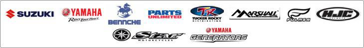 We proudly offer products from Suzuki, Yamaha, Bennche, Parts Unlimited, Tucker Rocky, Marshall, Fulmer, HJC, Star Motorcycles, and Yamaha Generators.