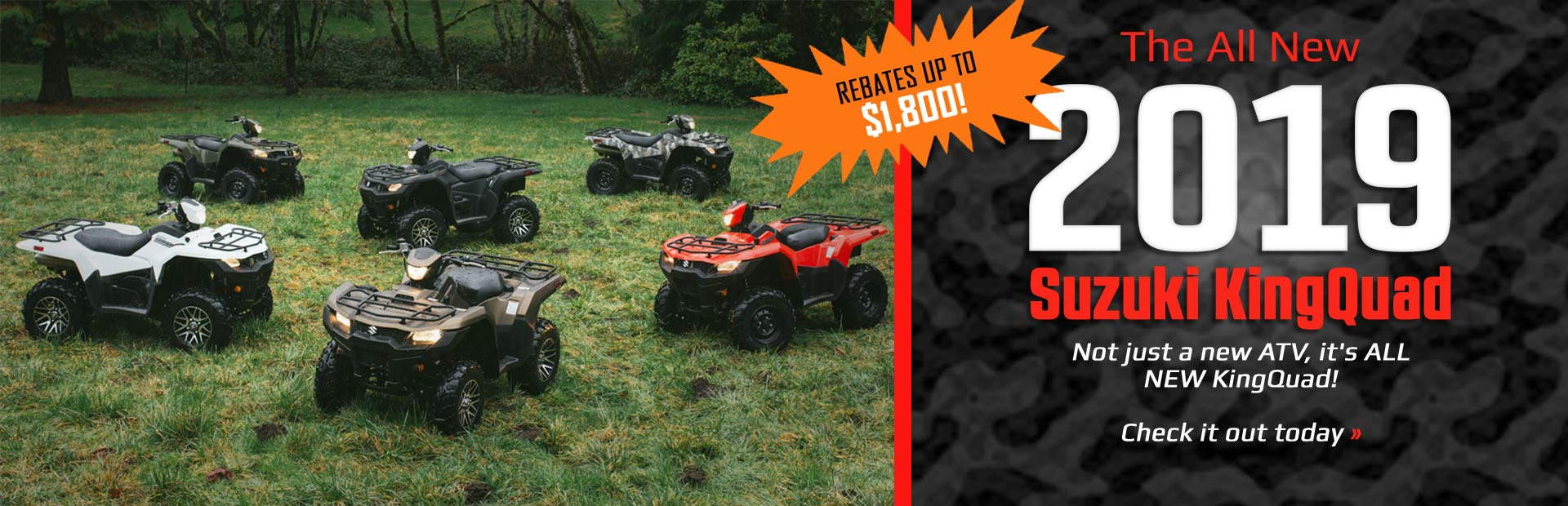 The All New 2019 Suzuki KingQuad: Click here for details.