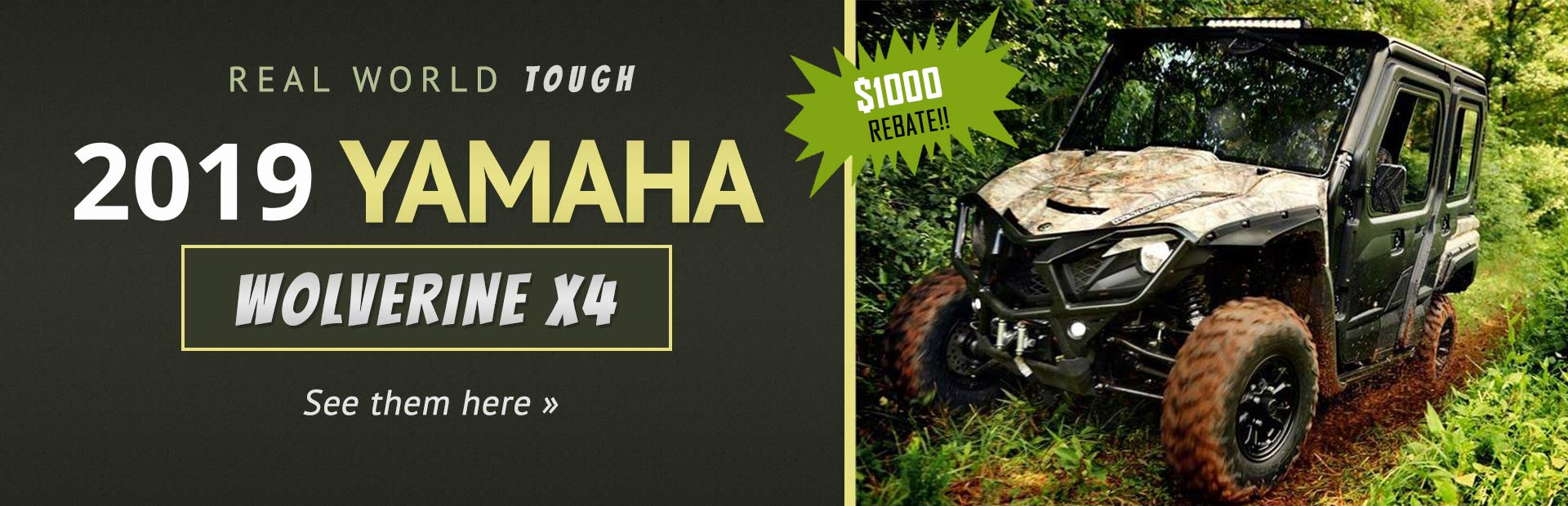 2018 Yamaha Wolverine X4 Side x Sides: Click here to view the models.