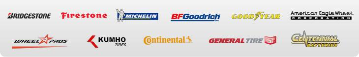 We carry products from Bridgestone, Firestone, Michelin®, BFGoodrich®, Goodyear, American Eagle Wheels, Wheel Pros, Kumho, Continental, General, and Centennial Batteries.