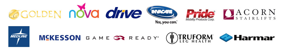 We carry products from Golden, Nova, Drive, Invacare, Pride, Acorn, Medline, McKesson, Game Ready, True Form, and Harmar.