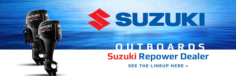 We are a Suzuki Repower dealer! Click here to see the lineup of Suzuki outboards.
