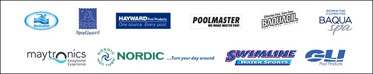 We carry  BioGuard, SpaGuard, Hayward, Poolmaster,  Bacquacil, BaquaSpa, Maytronics, Nordic Spas, Swimline and GLI Liners.