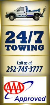 24/7 Towing - Call us at 252-745-3777