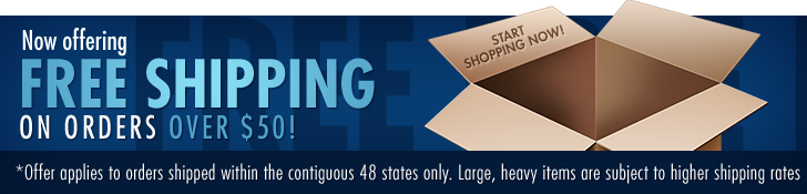 Now offering free shipping on orders over $50! Start shopping now!