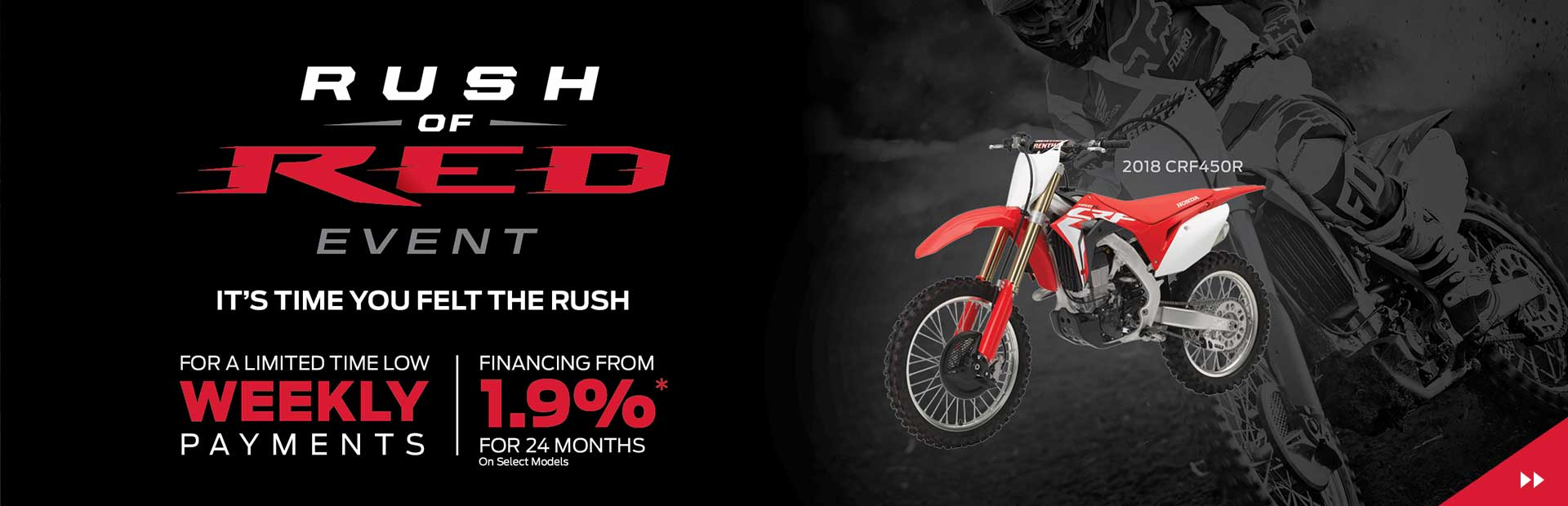 Honda Rush of Red Event is on Now! Financing from 1.9% for 24 months oac