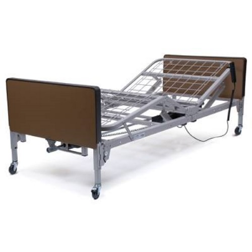 A medical bed frame showing adjustable positions.